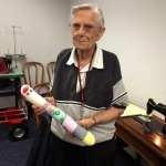 Charlotte, a Red Cross volunteer for more than 30 years, with one of her specialty items, a