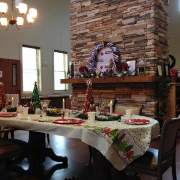 The table is set for the veterans' annual holiday dinner.