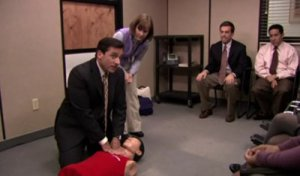 Michael Scott of The Office learns CPR to the beat of Stayin' Alive.