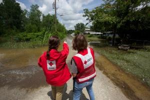 Carmen Nixon and Carol , Red Cross volunteers Photo:John Boykin